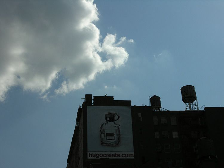 cloudy, a freshly painted wall advertising popped up, New York