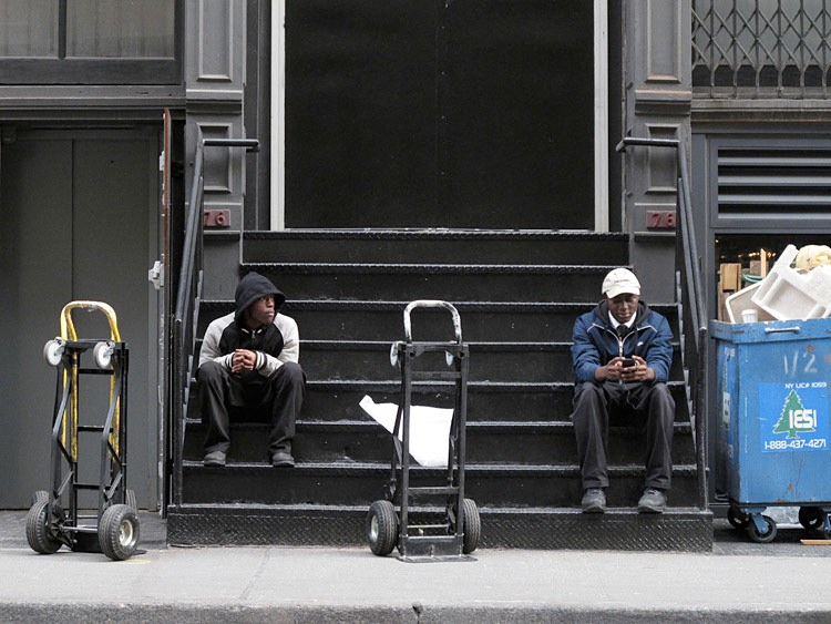 resting, steps, New York