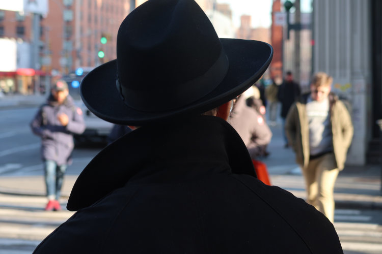 man, in black, New York